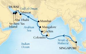 Singles Cruise - Balconies-Suites Seabourn Sojourn Cruise Map Detail Singapore to Dubai, United Arab Emirates April 17 May 5 2019 - 18 Days - Voyage 5623