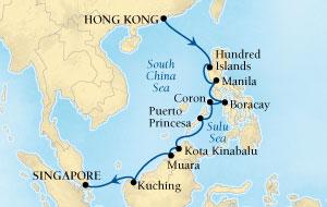 Singles Cruise - Balconies-Suites Seabourn Sojourn Cruise Map Detail Hong Kong, China to Singapore April 3-17 2019 - 14 Days - Voyage 5620