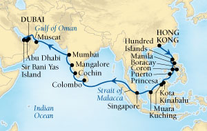 HONEYMOON Seabourn Sojourn Cruise Map Detail Hong Kong, China to Dubai, United Arab Emirates April 3 May 5 2020 - 32 Days - Voyage 5620A