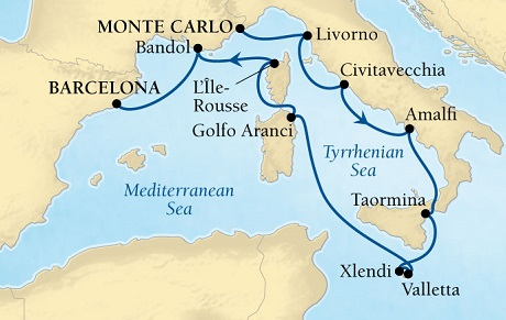 LUXURY CRUISE - Balconies-Suites Seabourn Sojourn Cruise Map Detail Monte Carlo, Monaco to Barcelona, Spain August 11-22 2019 - 11 Days - Voyage 5647