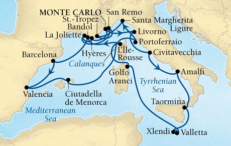 Singles Cruise - Balconies-Suites Seabourn Sojourn Cruise Map Detail Monte Carlo, Monaco to Monte Carlo, Monaco August 11 September 1 2019 - 21 Days - Voyage 5647A