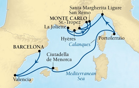 LUXURY CRUISES FOR LESS Seabourn Sojourn Cruise Map Detail Barcelona, Spain to Monte Carlo, Monaco August 22 September 1 2019 - 10 Days - Voyage 5648