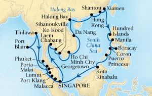 Seabourn Sojourn Cruise Map Detail Singapore to Singapore December 22 2016 February 4 2017 - 44 Days - Voyage 5673B