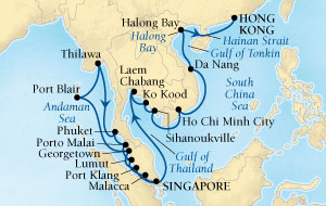 Seabourn Sojourn Cruise Map Detail Singapore to Hong Kong, China December 22 2016 January 21 2017 - 30 Days - Voyage 5673A