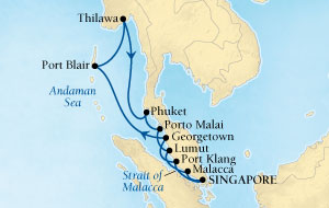 Singles Cruise - Balconies-Suites Seabourn Sojourn Cruise Map Detail Singapore to Singapore December 22 2019 January 7 2020 - 16 Days - Voyage 5673