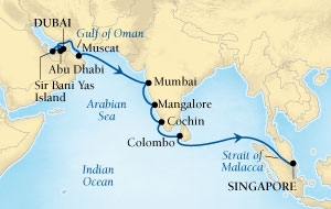 Singles Cruise - Balconies-Suites Seabourn Sojourn Cruise Map Detail Dubai, United Arab Emirates to Singapore December 5-22 2019 - 17 Days - Voyage 5670