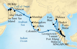 LUXURY CRUISES FOR LESS Seabourn Sojourn Cruise Map Detail Dubai, United Arab Emirates to Singapore December 5 2019 January 7 2020 - 33 Days - Voyage 5670A