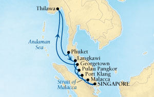 Singles Cruise - Balconies-Suites Seabourn Sojourn Cruise Map Detail Singapore to Singapore February 14-28 2019 - 14 Days - Voyage 5613