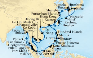 LUXURY CRUISES - Penthouse, Veranda, Balconies, Windows and Suites Seabourn Sojourn Cruise Map Detail Singapore to Singapore February 14 April 17 2019 - 63 Days - Voyage 5613C