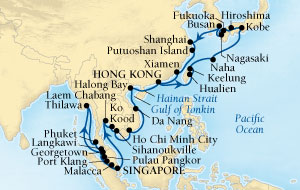 SINGLE Cruise - Balconies-Suites Seabourn Sojourn Cruise Map Detail Singapore to Hong Kong, China February 14 April 3 2019 - 49 Nights - Voyage 5613B