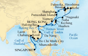 HONEYMOON CRUISES Seabourn Sojourn Cruise Map Detail Singapore to Hong Kong, China February 28 April 3 2020 - 35 Days - Voyage 5614A
