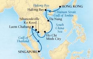 Singles Cruise - Balconies-Suites Seabourn Sojourn Cruise Map Detail Hong Kong, China to Singapore January 3-17 2019 - 14 Days - Voyage 5610