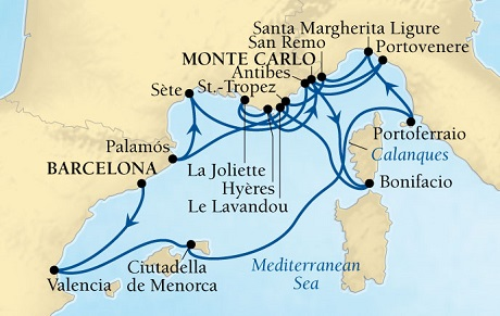 Singles Cruise - Balconies-Suites Seabourn Sojourn Cruise Map Detail Barcelona, Spain to Monte Carlo, Monaco July 25 August 11 2019 - 17 Days - Voyage 5642A