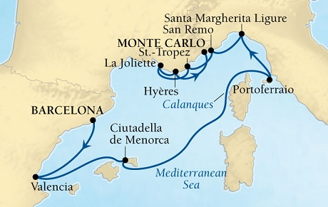SINGLE Cruise - Balconies-Suites Seabourn Sojourn Cruise Map Detail Barcelona, Spain to Monte Carlo, Monaco July 25 August 4 2019 - 10 Nights - Voyage 5642
