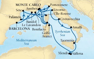 Singles Cruise - Balconies-Suites Seabourn Sojourn Cruise Map Detail Monte Carlo, Monaco to Barcelona, Spain July 7-25 2019 - 18 Days - Voyage 5640A