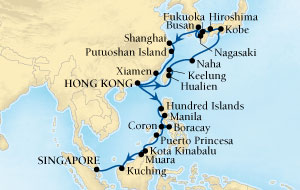 SINGLE Cruise - Balconies-Suites Seabourn Sojourn Cruise Map Detail Hong Kong, China to Singapore March 13 April 17 2019 - 35 Nights - Voyage 5619A