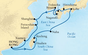 SEABOURN Sojourn Deals SEABOURN Sojourn Cruise Map Detail Hong Kong, China to Hong Kong, China March 13 April 3 2026 - 21 Days - Voyage 5619
