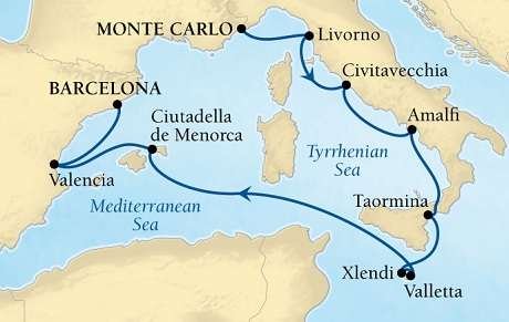 SINGLE Cruise - Balconies-Suites Seabourn Sojourn Cruise Map Detail Monte Carlo, Monaco to Barcelona, Spain May 30 June 9 2019 - 10 Nights - Voyage 5628