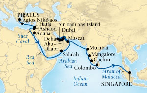 Singles Cruise - Balconies-Suites Seabourn Sojourn Cruise Map Detail Piraeus (Athens), Greece to Singapore November 17 December 22 2019 - 35 Days - Voyage 5667A