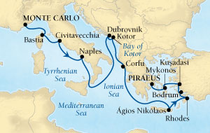 HONEYMOON CRUISES Seabourn Sojourn Cruise Map Detail Monte Carlo, Monaco to Piraeus (Athens), Greece November 3-17 2020 - 14 Days - Voyage 5664