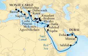 HONEYMOON CRUISES Seabourn Sojourn Cruise Map Detail Monte Carlo, Monaco to Dubai, United Arab Emirates November 3 December 5 2020 - 32 Days - Voyage 5664A