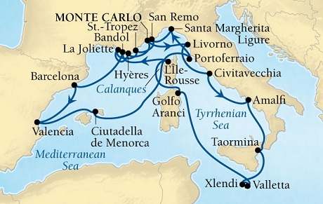 Singles Cruise - Balconies-Suites Seabourn Sojourn Cruise Map Detail Monte Carlo, Monaco to Monte Carlo, Monaco October 6-27 2019 - 21 Days - Voyage 5656A