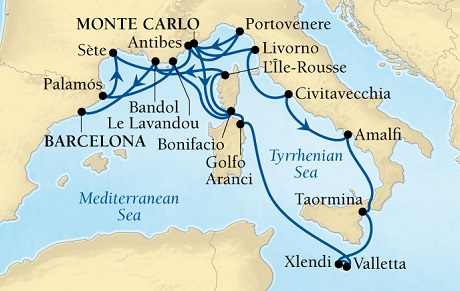 Singles Cruise - Balconies-Suites Seabourn Sojourn Cruise Map Detail Monte Carlo, Monaco to Barcelona, Spain September 1-19 2019 - 18 Days - Voyage 5649A