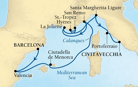 SEABOURN Sojourn Deals SEABOURN Sojourn Cruise Map Detail Barcelona, Spain to Civitavecchia (Rome), Italy September 19-29 2026 - 10 Days - Voyage 5654