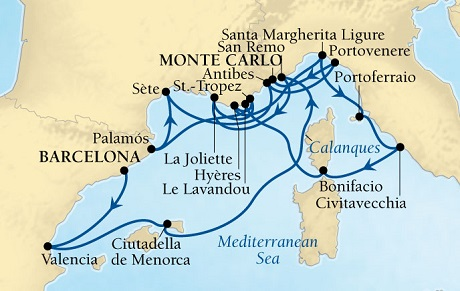 LUXURY WORLD CRUISES - Penthouse, Veranda, Balconies, Windows and Suites Seabourn Sojourn Cruise Map Detail Barcelona, Spain to Monte Carlo, Monaco September 19 October 6 2019 - 17 Days - Voyage 5654A