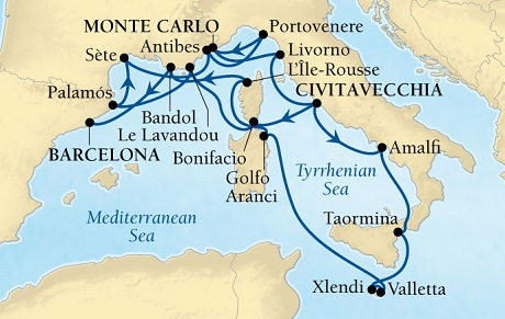 Singles Cruise - Balconies-Suites Seabourn Sojourn Cruise Map Detail Civitavecchia (Rome), Italy to Barcelona, Spain September 29 October 17 2019 - 18 Days - Voyage 5655A