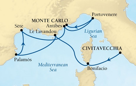 SINGLE Cruise - Balconies-Suites Seabourn Sojourn Cruise Map Detail Civitavecchia (Rome), Italy to Monte Carlo, Monaco September 29 October 6 2019 - 7 Nights - Voyage 5655