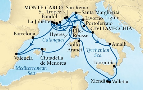 Seabourn Sojourn Cruise Map Detail Monte Carlo, Monaco to Civitavecchia (Rome), Italy September 8-29 2016 - 21 Days - Voyage 5653A