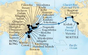Singles Cruise - Balconies-Suites Seabourn Sojourn Cruise Map Detail Hong Kong, China to Seattle, Washington, US March 18 May 31 2020 - 75 Days - Voyage 5719C