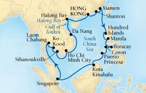 Seabourn Sojourn Cruise Map Detail Hong Kong to Hong Kong, China February 18 March 18 2017 - 28 Days - Voyage 5715A