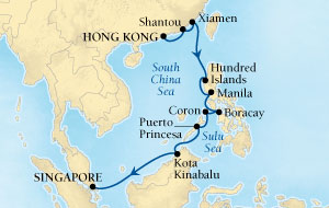 SINGLE Cruise - Balconies-Suites Seabourn Sojourn Cruise Map Detail Hong Kong to Singapore February 18 March 4 2020 - 14 Nights - Voyage 5715