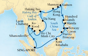 Seabourn Sojourn Cruise Map Detail Singapore to Singapore February 4 March 4 2017 - 28 Days - Voyage 5714A
