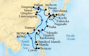 SINGLE Cruise - Balconies-Suites Seabourn Sojourn Cruise Map Detail Hong Kong, China to Hong Kong, China March 18 April 23 2020 - 36 Nights - Voyage 5719A
