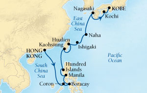 Singles Cruise - Balconies-Suites Seabourn Sojourn Cruise Map Detail Hong Kong, China to Kobe, Japan March 18 April 5 2020 - 18 Days - Voyage 5719