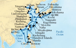 Singles Cruise - Balconies-Suites Seabourn Sojourn Cruise Map Detail Hong Kong, China to Kobe, Japan March 18 May 11 2020 - 54 Days - Voyage 5719B