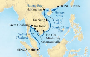 Singles Cruise - Balconies-Suites Seabourn Sojourn Cruise Map Detail Singapore to Hong Kong, China March 4-18 2020 - 14 Days - Voyage 5718