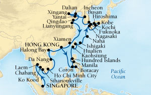 LUXURY CRUISES FOR LESS Seabourn Sojourn Cruise Map Detail Singapore to Hong Kong, China March 4 April 23 2020 - 50 Days - Voyage 5718B