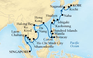 Singles Cruise - Balconies-Suites Seabourn Sojourn Cruise Map Detail Singapore to Kobe, Japan March 4 April 5 2020 - 32 Days - Voyage 5718A