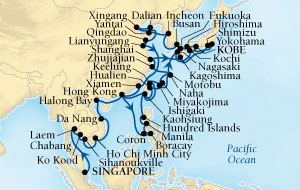 World CRUISE SHIP BIDS - Seabourn Sojourn CRUISE SHIP Map Detail Singapore to Kobe, Japan March 4 May 11 2022 - 68 Days - Voyage 5718C