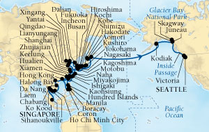 SINGLE Cruise - Balconies-Suites Seabourn Sojourn Cruise Map Detail Singapore to Seattle, Washington, US March 4 May 31 2020 - 89 Nights - Voyage 5718D