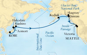 Seabourn Sojourn Cruise Map Detail Kobe, Japan to Seattle, Washington, US May 11-31 2017 - 21 Days - Voyage 5726