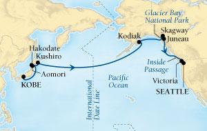 World CRUISE SHIP BIDS - Seabourn Sojourn CRUISE SHIP Map Detail Kobe, Japan to Seattle, Washington, US May 11-31 2022 - 21 Days - Voyage 5726