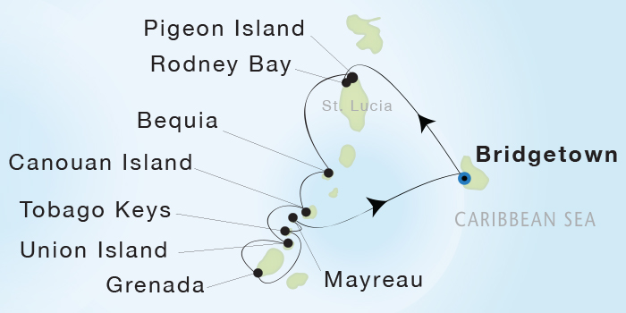 World Cruise BIDS - Seadream Yacht Club, Seadream 1 April 2-9 2023 Bridgetown, Barbados to Bridgetown, Barbados