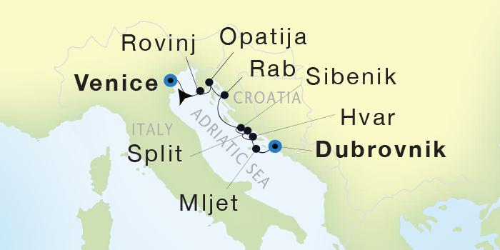 Singles Cruise - Balconies-Suites Seadream Yacht Club, Seadream 1 August 13-20 2019 Dubrovnik, Croatia to Venice, Italy