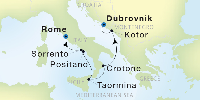 SINGLE Cruise - Balconies-Suites Seadream Yacht Club, Seadream 1 August 6-13 2019 Civitavecchia (Rome), Italy to Dubrovnik, Croatia