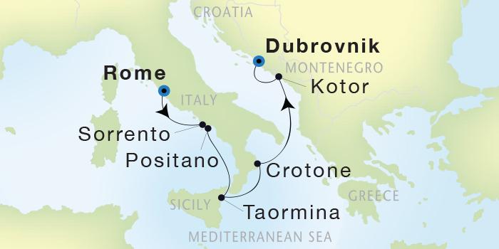 LUXURY CRUISE - Balconies-Suites Seadream Yacht Club, Seadream 1 August 6-13 2019 Civitavecchia (Rome), Italy to Dubrovnik, Croatia